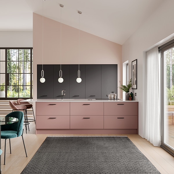 Perfectly Pink Introducing the latest colourful finish now available, Dusky Pink.This muted pink tone is the perfect way to incorporate this splash of colour into your home. Combine with contrasting finishes such as Chalk White or Anthracite, using Dusky Pink as a feature shade on islands or wall units.Do you want to see how this could be designed into your space? Contact us today.symphonykitchens symphonygroup paintedkitchen newkitchen kitchenlaunch duskypink pinkkitchen pinkhome kitchenshowroom kitchendesigner